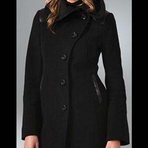 Mackage Elise pea coat black wool leather trim xs